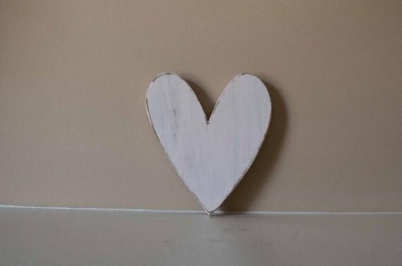 Wood Heart Shabby Chic Nursery Wedding Cottage Home Decor
