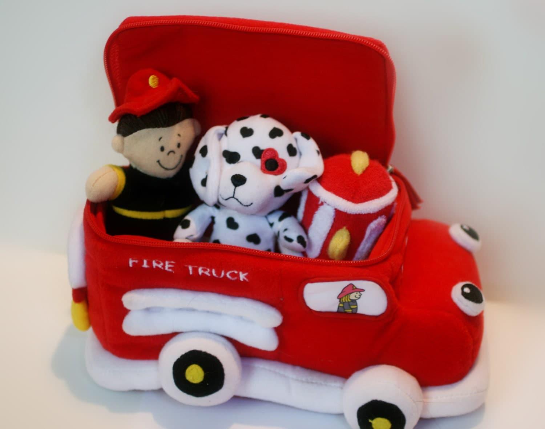 Plush Fire Truck Toy Kids Baby Toy Fire Truck Fireman