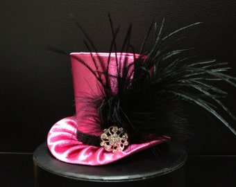 Pink and Black Satin Mad Hatter Mini Top Hat for Wedding, Bachelorette Party, Bridal Shower, Tea Party or Photo Prop