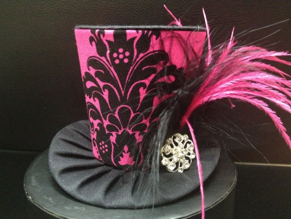 Pink and Black Damask Mini Top Hat.  Great for Birthday Parties, Tea Parties, Photo Prop, Girls Night Out and Much More...