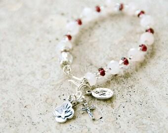 Confirmation Sterling Silver & Rose Quartz Rosary Bracelet