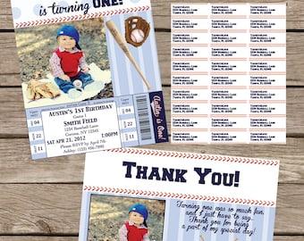 Baseball (1st) Birthday Invitation Package Printable