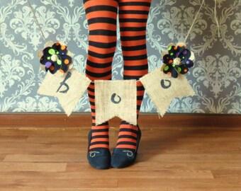 Primitive Halloween Banner with Burlap Flowers / Halloween Photography Prop