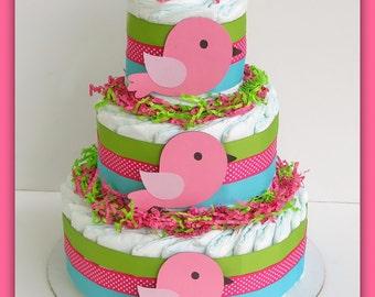 Bird  Diaper Cake , Baby Shower Decorations Bird Baby Shower Girl, Bird Diaper Cake,Birdie It's A Girl Banner Pink