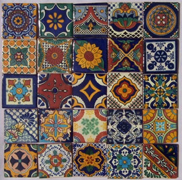 25 Hand Painted Talavera Mexican Tiles 2x2