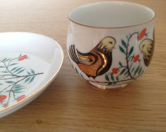 Vintage Russian USSR Leningrad porcelain factory  LFZ hand painted cup and souser.
