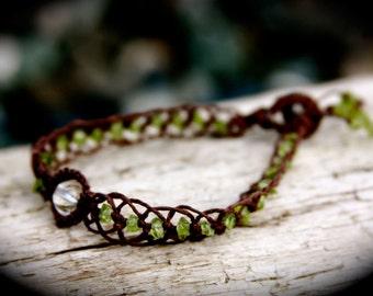 Peridot and Crystal Quartz Organic Brown Hemp Healing Bracelet