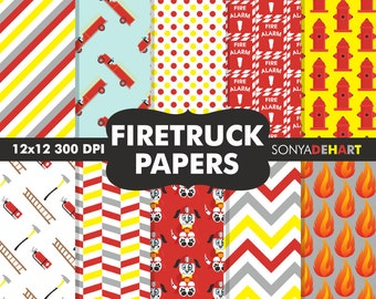 80% OFF Sale Fireman Papers, Fireman Patterns, Firetruck Papers, Digital Paper Packs, Scrapbook Pages, Digital Paper, Commercial Use