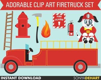 60% OFF SALE Fireman Clipart, Fire Truck Clipart, Ladder Clipart, Fire Clipart, Fire Hydrant Clipart, Dalmatian Clipart, Dalmatian Clip Art