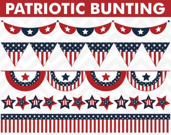 80% OFF Sale July 4th Clipart, July 4th Clip Art, Digital Clipart, 4th of July Clipart, Bunting Clipart, Bunting Clip Art, Flag Clipart