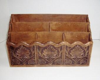 vintage lerner desktop organizer retro plastic floral faux carved woodgrain