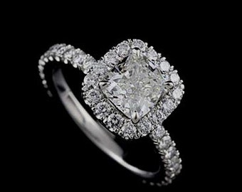 Diamond Halo Engagement Ring, Cushion Shape Proposal Ring, Cut Down Micro Pave Set Ring, Platinum Ring Mounting For Cushion Center Stone