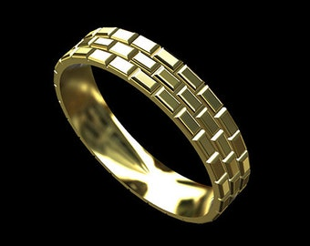 Gold Brick Men's Wedding Band, Eternity Infinity Brick Wedding Ring, Comfort Fit 5mm Men's Wedding Ring, Solid Gold Male Wedding Ring