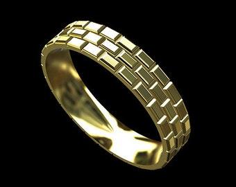 Brick Men's Wedding Band, Brick Eternity Men's Ring, Gold Men's Wedding Ring, Comfort Fit 5mm Men's Ring, Yellow Gold Unique Wedding Ring