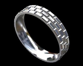 Brick Men's Wedding Band, Eternity Infinity Brick Wedding Ring, Platinum Eternity Men's Ring, 5mm Men's Ring, Comfort Fit Men's Wedding Ring