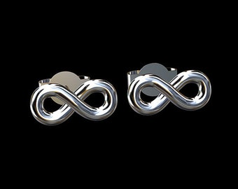 Sterling Silver 925  Infinity Stud Earrings
