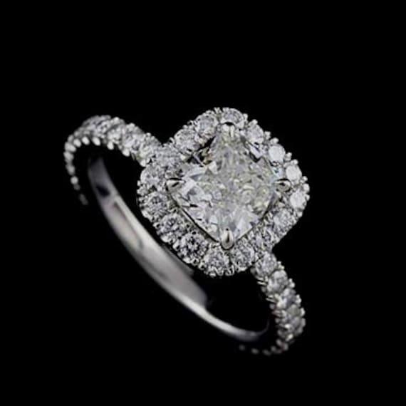 Platinum Cushion Diamond Engagement Ring Mounting