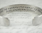 Thank You For Raising the Man of my Dreams Mother of the Groom Secret Message Hand Stamped Bracelet- Personalized Bracelet