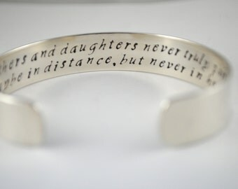 Keepsake Sterling Silver Mothers and Daughters Never Truly Part Custom Hand Stamped Bracelet. Secret Message
