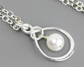Pearl Infinity Necklace - White Swarovski Pearl and Sterling Silver Infinity Neckace - Bridesmaid Jewelry - Handmade Sterling Silver Jewelry