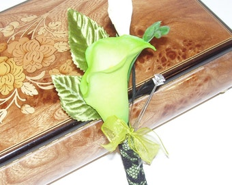 REAL TOUCH BOUTONNIERE, Mini Calla Lily, Chartreuse, Black, Ivory Boutonniere