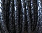 4mm Black Bolo Leather Cord Braided Round 1 Yard Sale