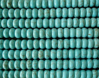 Howlite Big Hole Bead Turquoise Look 8MM Large Hole Fit Leather 35-40 beads