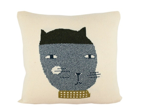 Decorative Pillow - Felipe the Cat - soft knitted pillow - 18x18, includes insert