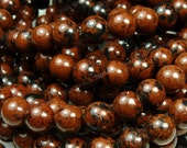 4mm Mahogany Obsidian Natural Gemstone Beads - 16 Inch Strand - Red Brown, Black, Round - BC13