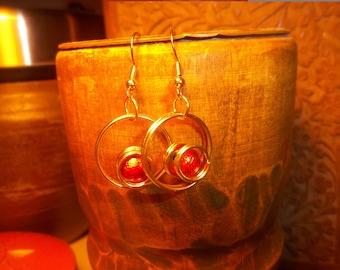Circle Earrings with Orange Glass Beads