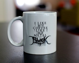Black Metal Coffee Mug - GREY