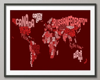 Typography Text Map of the World Map, Art Print (604)