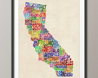 California Typography Text Map, Art Print (281)