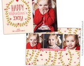 INSTANT DOWNLOAD  - Valentine's Day Photocard Template - Kisses garden - E680