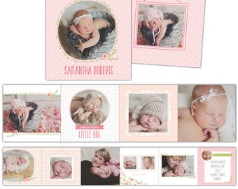 Baby Announcement 3x3 Accordion mini template - Bundle of love - E781