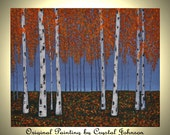 Reserved for Diana J 20x16 Orange Aspen Forest Original Acrylic Painting Birch Trees Autumn Painting