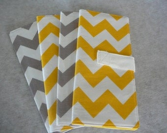 Chevron Passport Cover, Travel Wallet, Passport Holder for 1 or 2, Tall for Boarding Pass - Choose Your Own Color: Gray, Yellow & More
