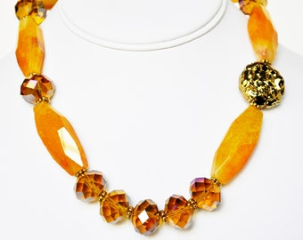 Yellow Necklace Handmade Beaded Jewelry Beaded Necklace with Gold and Swarovski Crystals