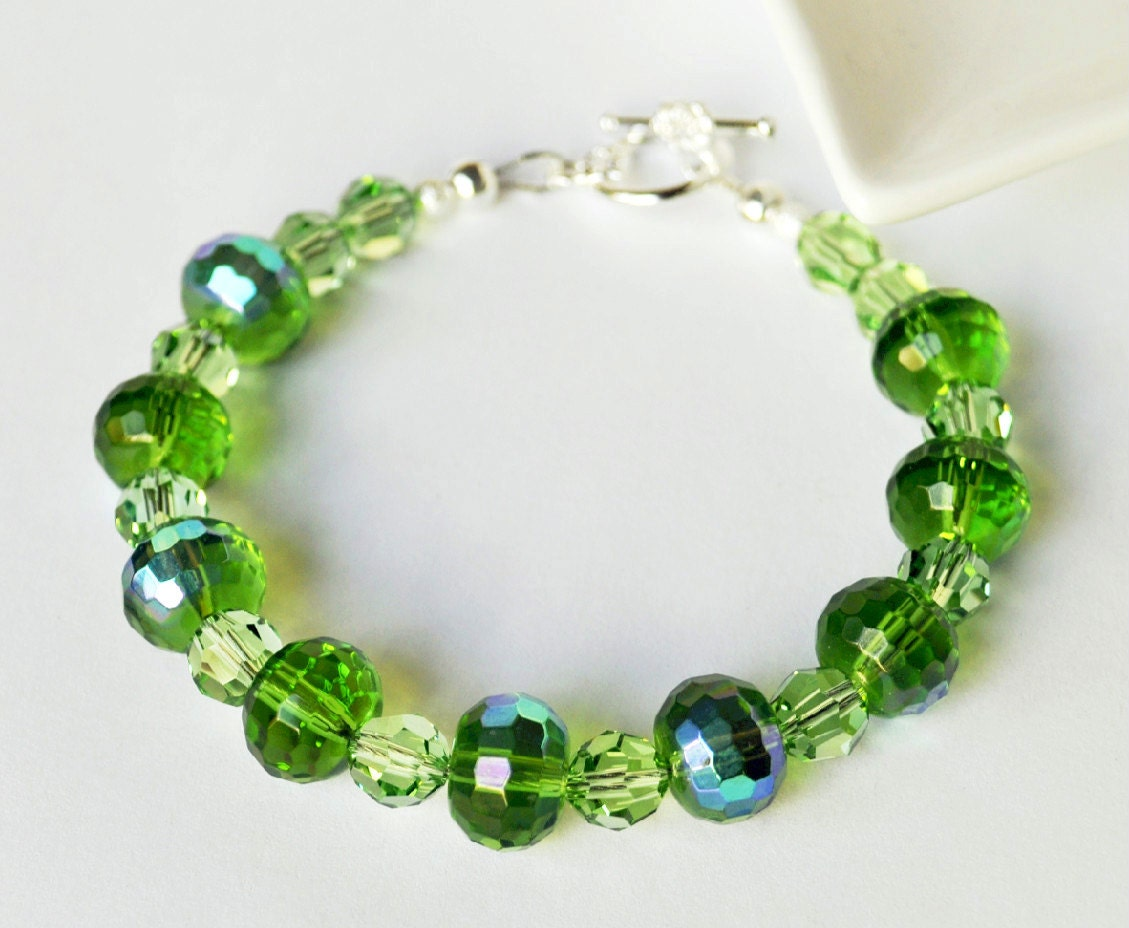 Green bracelet handmade beaded jewelry with silver bracelet for Unique stones for jewelry making