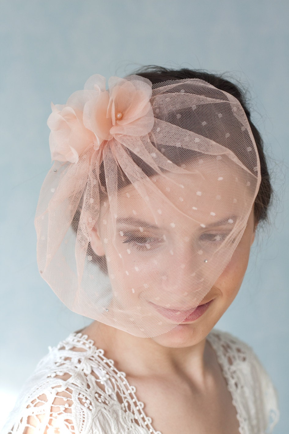 Peach Tulle Bridal Birdcage Veil With By BeChicAccessories On Etsy