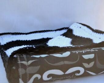 HIpster mustache crochet baby blanket, Chevron crochet blanket,  reversible baby blanket, car set blanket, stroller blanket, nursery decor