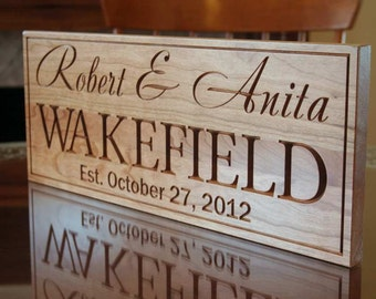 Wedding Date Sign, Mr Mrs Wood Sign, Established Date Sign, Family Date Sign, Carved Wood Sign, Benchmark Custom Signs, Cherry XX