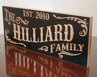Family Name Sign, Established Sign, Personalized Sign, Custom Wedding Gift, Wedding Sign, Benchmark Signs Maple RB
