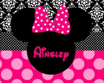 Personalized Beach Towel - Minnie Mouse Damask/Polka