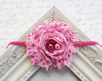 White with Pink Hearts Chiffon headband, baby headbands, newborn headbands, valentine's day headbands, pink headbands, photography prop