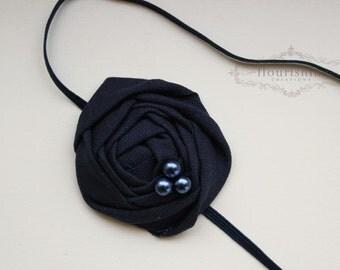 Back to Basics- NAVY Rosette headband, everyday headbands, navy headbands, newborn headbands, photography prop
