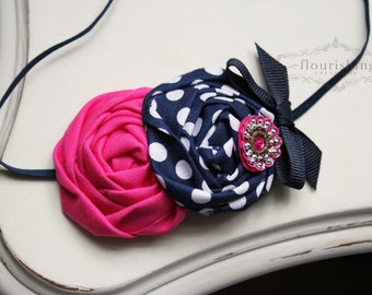 Navy and Hot Pink Rosette headband, baby headbands, navy headbands, newborn headbands, summer headbands, photography prop