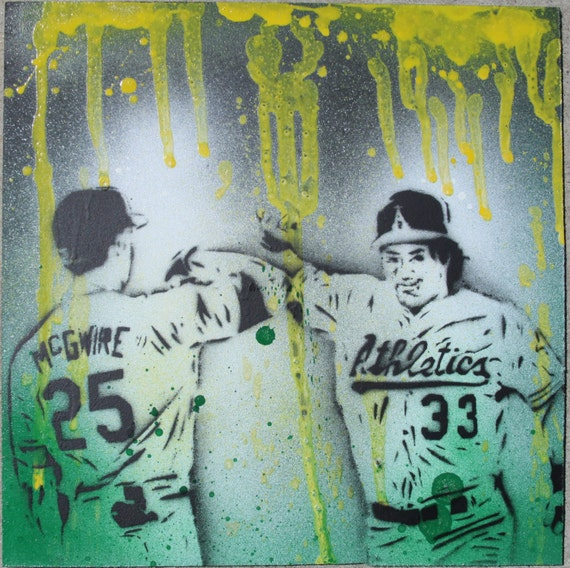Oakland A's Original Bash Brothers Stencil Painting on MDF board