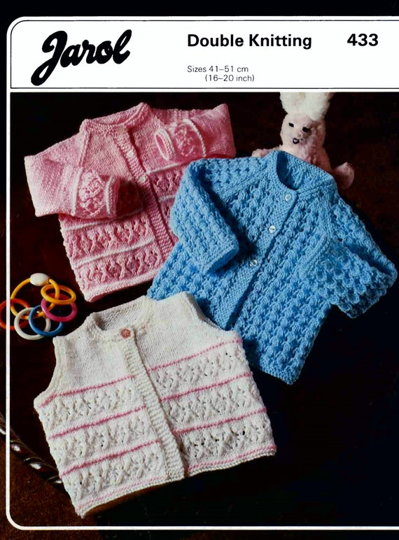 Jarol Knitting Patterns : Baby Dk 8ply Cardigans and Waistcoat 3 styles 16-20ins Jarol 433 - pdf of Vin...