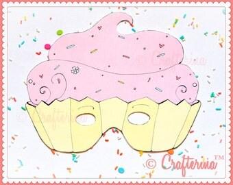 Cupcake Birthday Party Mask - Printable PDF- DIY Craft Kit - Pink Party Favor- Child Toy
